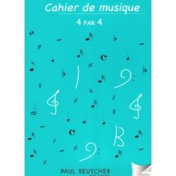 CAHIER DE MUSIQUE 4x4 PORTEES RELIURE SPIRALE