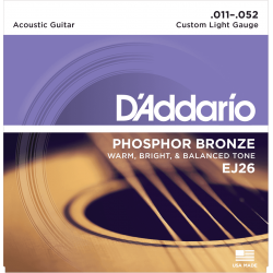 D ADDARIO jeu de cordes Acoustiques EJ26 P/BRONZE - Custom Light 11/52