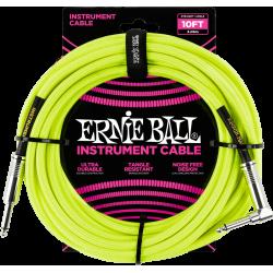 ERNIE BALL Jack/jack coudé 3m jaune fluo