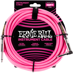 ERNIE BALL Jack/jack coudé 3m rose fluo