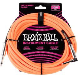 ERNIE BALL Jack/jack coudé 3m orange fluo
