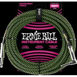 ERNIE BALL Jack/jack coudé 3m noir et vert