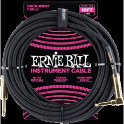 ERNIE BALL Jack/jack coudé 3m noir