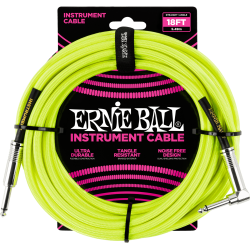 ERNIE BALL Jack/jack coudé 5.50 m jaune fluo