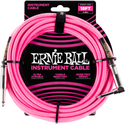 ERNIE BALL Jack/jack coudé 5.50 m rose fluo