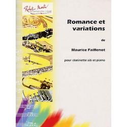 Maurice Faillenot Romance et Variations Partition - Clarinette et Piano