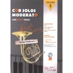 Cor Solos Moderato - Volume 2 AVEC CD. Partition - Cor en Fa et Piano