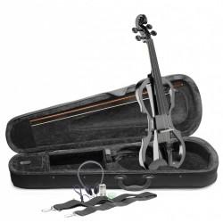 STAGG Pack violon électrique 4/4 noir métallique