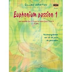 Gilles Martin Euphonium Passion 1 AVEC CD. Partition - Euphonium et Piano Billaudot